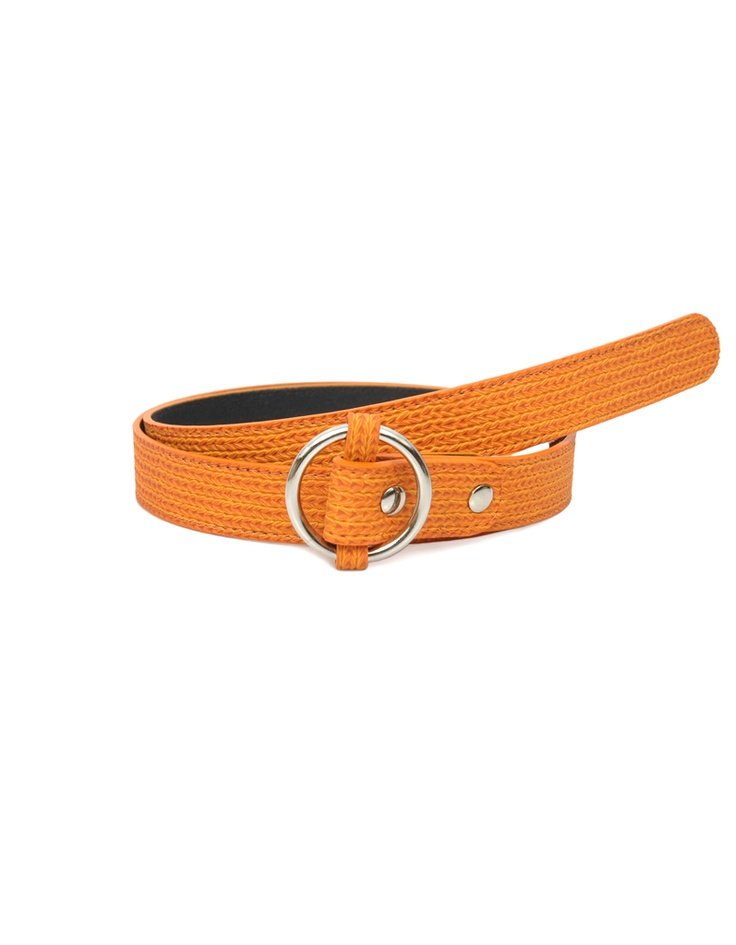 An edgy textured orange belt by Baggit, perfect for summer.