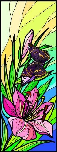 Pink Stargazer Lily Flower with a Butterfly - Vinyl Stained Glass Film, Static Cling Window Decal by Window Art in Vinyl Etchings. $7.95. Many standard sizes are available. No additional charge for custom sizes.. Clear static-cling vinyl decal effortlessly attaches to glass without the need for any adhesive.. Simple to remove, the vinyl decals can be easily reapplied without the loss of static cling.. Vinyl decal material and ink are safe for outdoor or indoor use.. Advanced U...