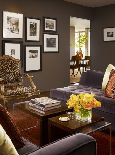 Posh: Wall Colors, Paintings Colors, Grey Wall, Home Decor, Animal Prints, Leopards Prints, Contemporary Living Rooms, Dark Wall, Leopards Chairs