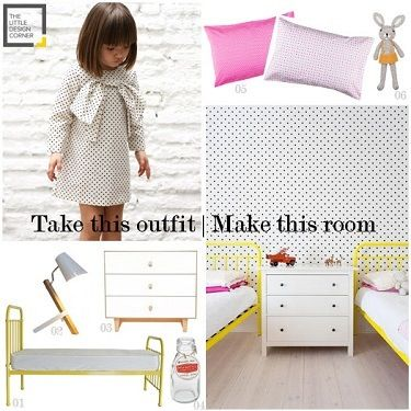 Take this outfit make this room | yellow, black, white girls room | The Little Design Corner
