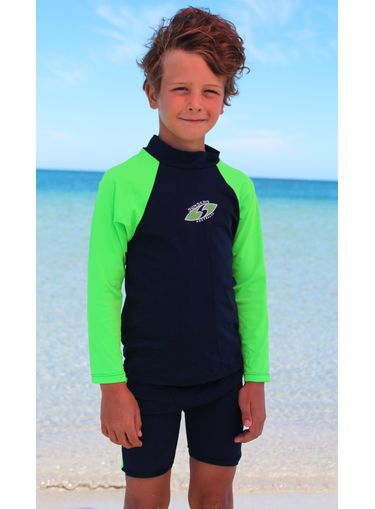 Chlorine resistant Long sleeve rash shirt for Boys in Navy and lime