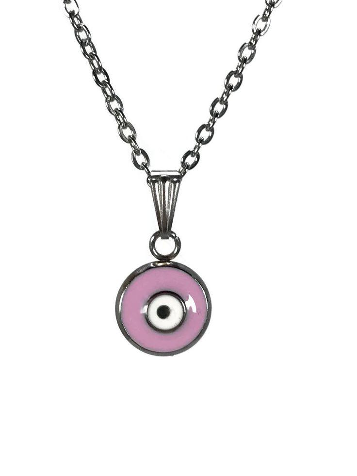 pendentif oeil rose en acier inoxydable