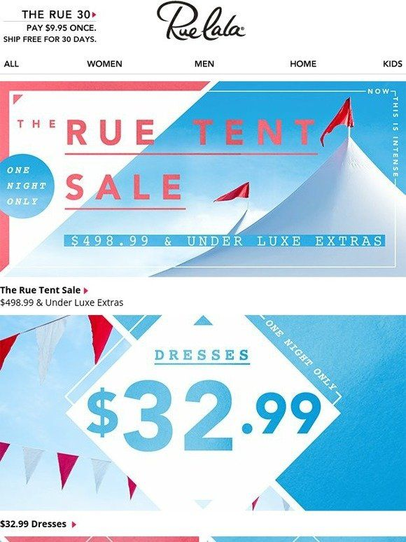 $498.99 & under luxe. Tonight-only Tent Sale. (Stake your claim.) - Rue La La