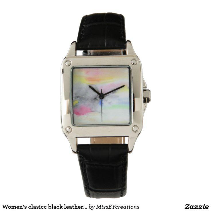 Conception de montre de bracelet en cuir de noir