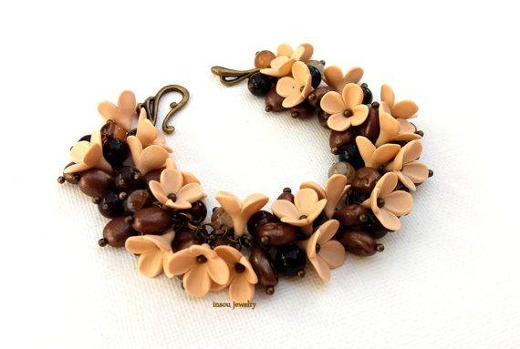Coffee Coffee Jewelry Fall Jewelry Flower Jewelry Brown