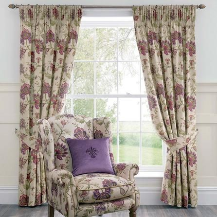 Dorma Bloomsbury Floral Cream & Plum Purple Cotton Lined Pencil Pleat Curtains (228cm x 182cm)