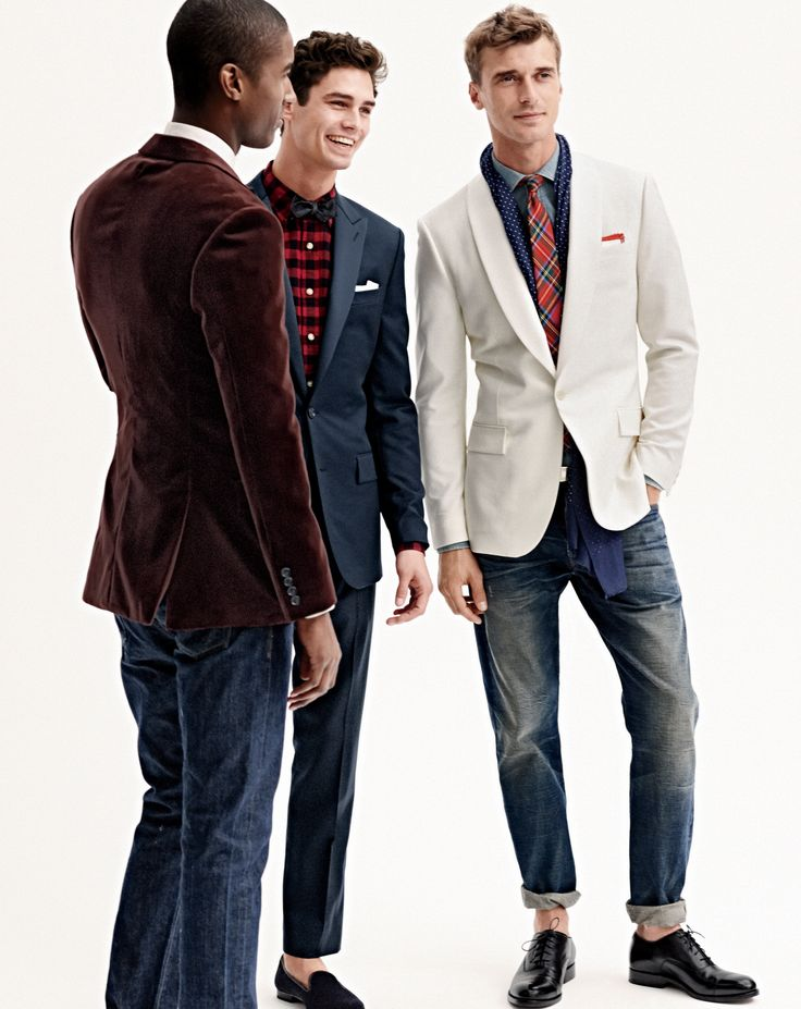 J.Crew men's Ludlow suiting tuxedo, vintage oxford shirt in buffalo check, Ludlow velvet sportcoat with contrast peak lapel, 484 Japanese selvedge jean in raw indigo, Scottish tartan tie, Ludlow dinner jacket, Ludlow spread collar in chambray, Wallace & Barnes slim selvedge in white oak cone denim, and Ludlow Balmoral shoes.