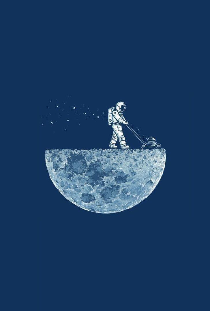 moon funny astronauts lawnmower