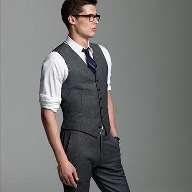 Groomsmen   Medium-dark gray, slim-fitting three-piece suit (add jacket)   White shirt (collar type to be determined)