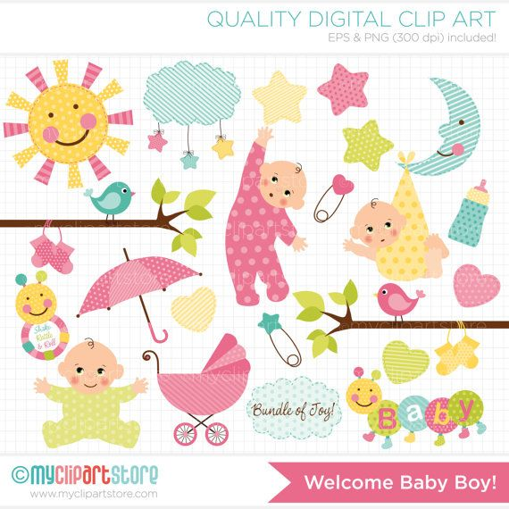 New Baby Announcement / Baby Girl Clip Art / by MyClipArtStore, $4.50