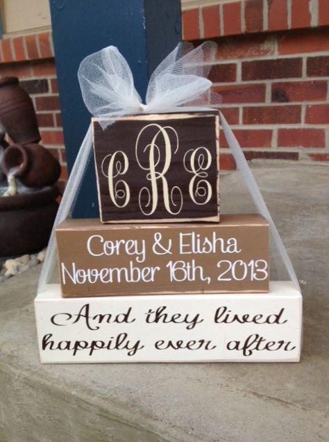 3 Tier Personalized monogrammed wedding/anniversary wood block stacker set wedding home decor anniversary gift