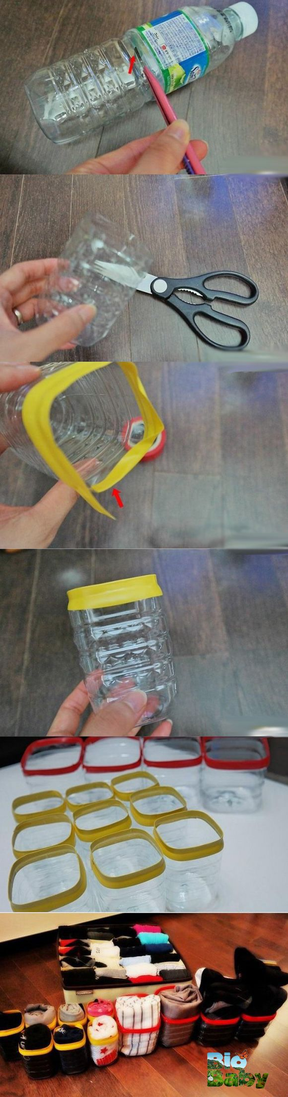 Recorta la parte de abajo de botellas plásticas, forra con cinta la orilla y úsalas para almacenar calcetines.