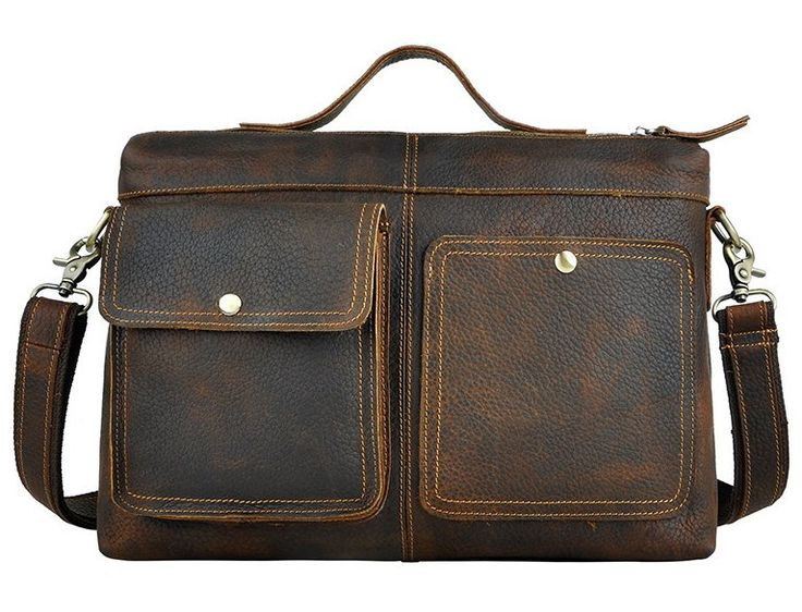 #IMPORTED MAD HORSE #LEATHER RETRO MEN 12 INCH BUSINESS PORTABLE #COMPUTER BAG X19