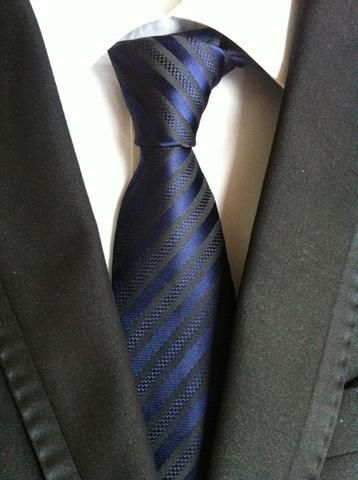 Elegant Thin Blue Line Striped Tie