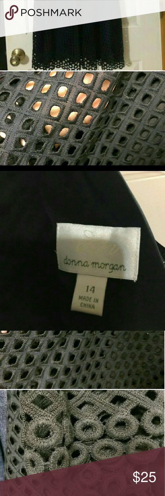 Donna Morgan black dress This is a super cute Donna Morgan dress. It is black with cut out detail all over the dress with a black slip. Donna Morgan Dresses Midi