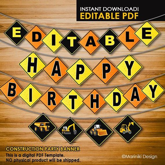 Construction Banner Happy Birthday Banner Editable Party