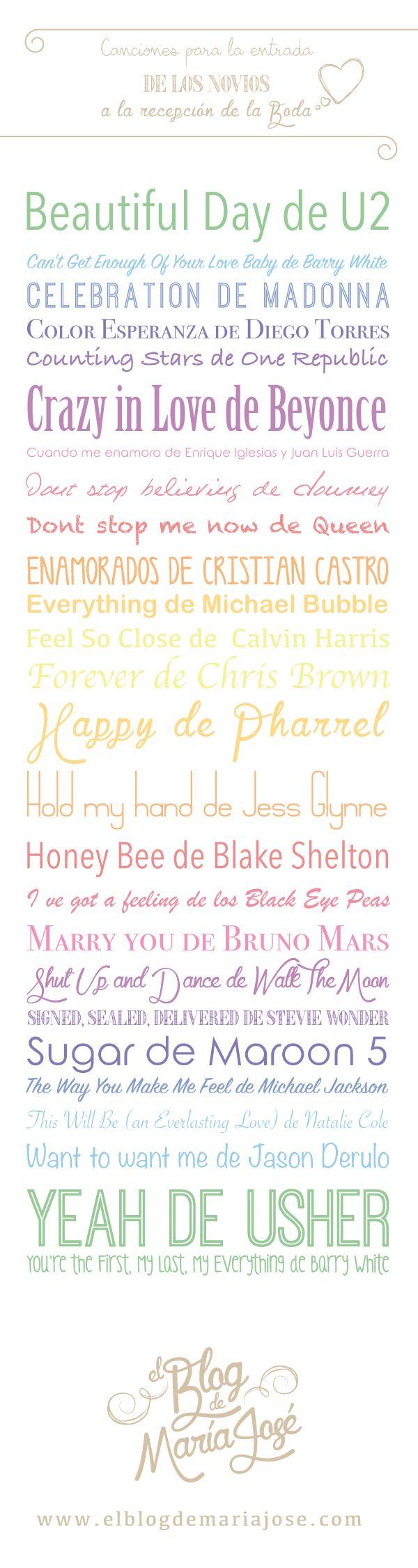 Canciones para la entrada de los novios a la recepción de la boda