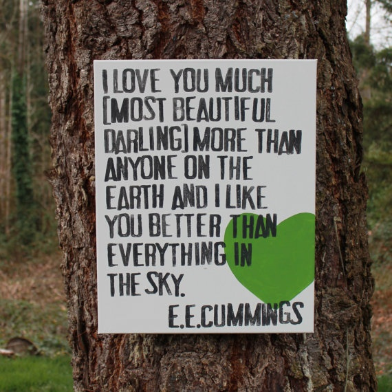 """""""I love you much"""" by  EE Cummings Typography Canvas 16x20 by Houseof3"""