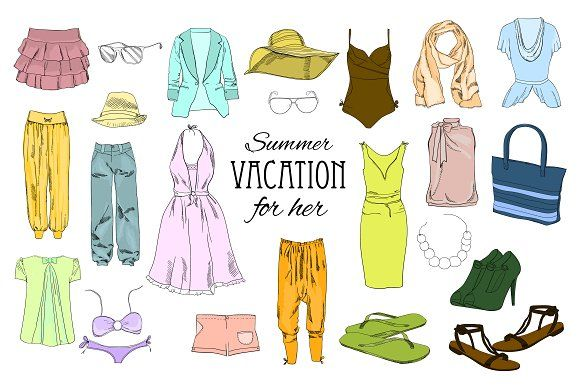Women Clothes  Set. Mega-clipart by ImpressionShop on @creativemarket