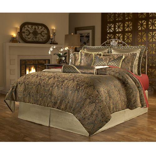 Best Vintage Paisley Gold And Black 5 Piece Comforter Set Aaron S Bedding Bed Comforter Sets Bed 640 x 480