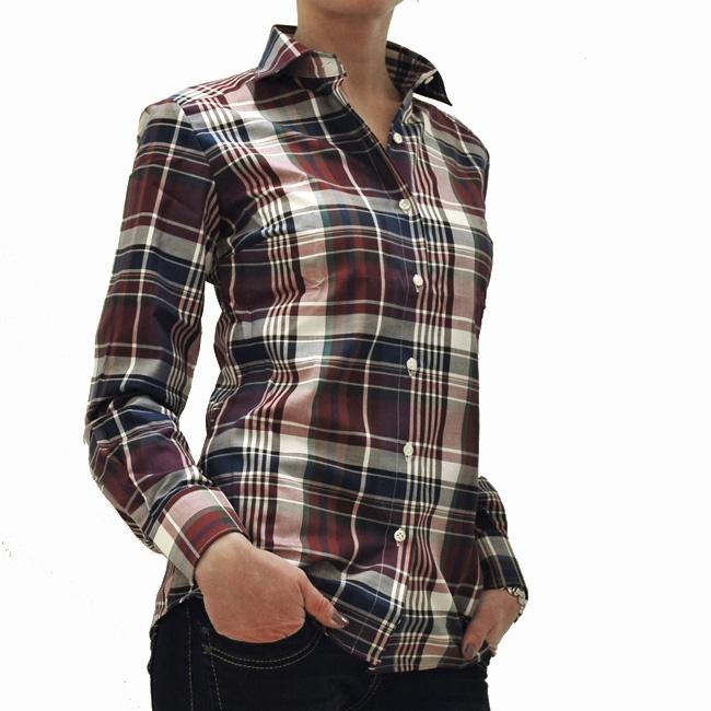 Camicia donna scacchi vinaccia / Burgundy check blouse