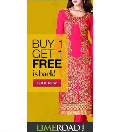 Limeroad is offering Buy 1 Salwar Kameez Get 1 Designer Salwar Suit free from Top Brands How to catch the offer: Click here for offer page Add Salwar Kameez/Salwar Suitin your cart Login or Register Fill the shipping details Make final payment