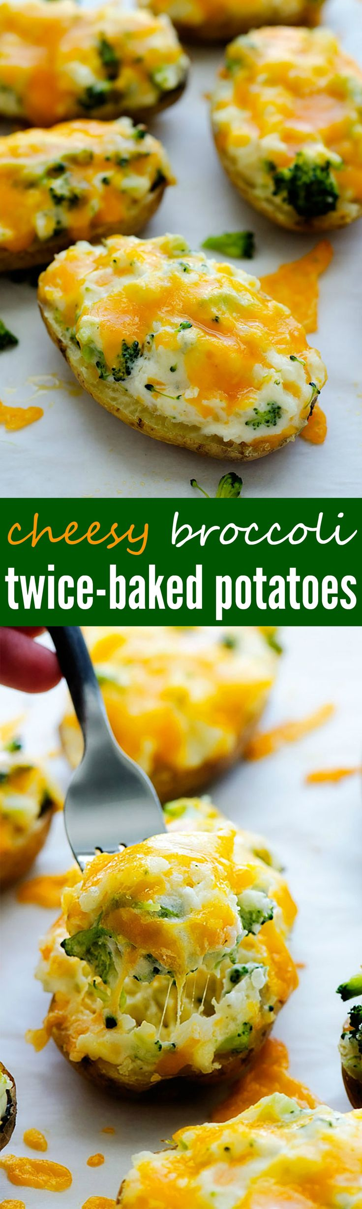 Delicious twice-baked potatoes loaded with broccoli, cheese and more!