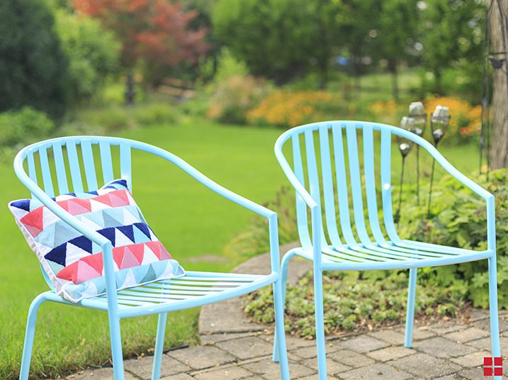 Why Not Give Your Patio One Last Pop Of Summer Color For Labor Day Parties?  Get These DIY Patio Chairs Done In Hours With Our Stops Rust Turquoise  Spray ...