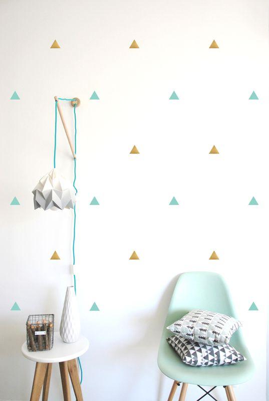 Muursticker driehoekjes mint/goud