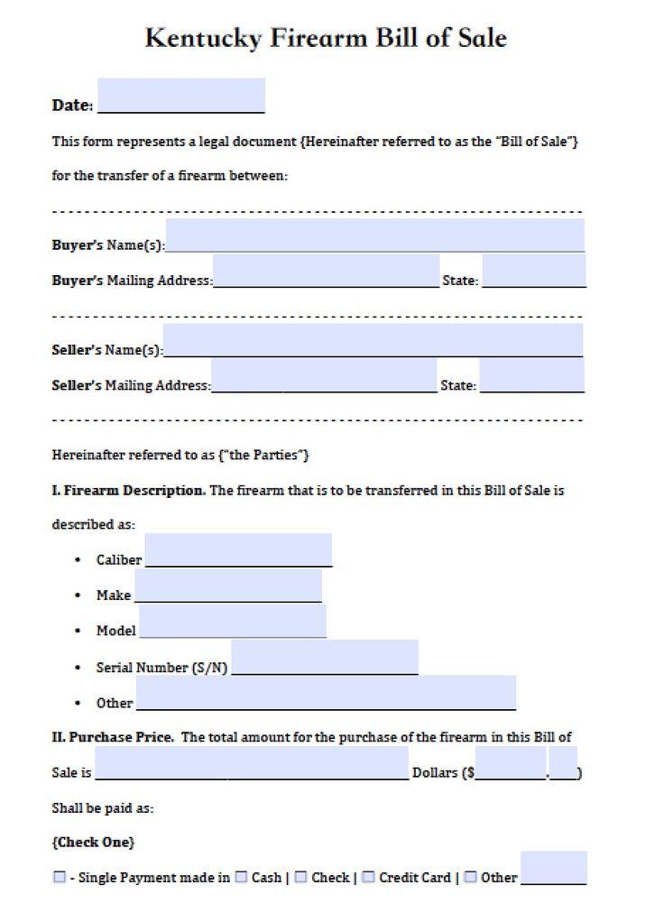 Free Kentucky Firearm Bill of Sale Form | PDF | Word (.doc)