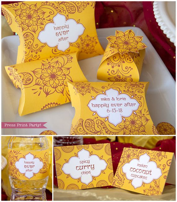 Indian Red and Yellow Party Printables inspired by Wedding henna by PressPrintParty. mehndi