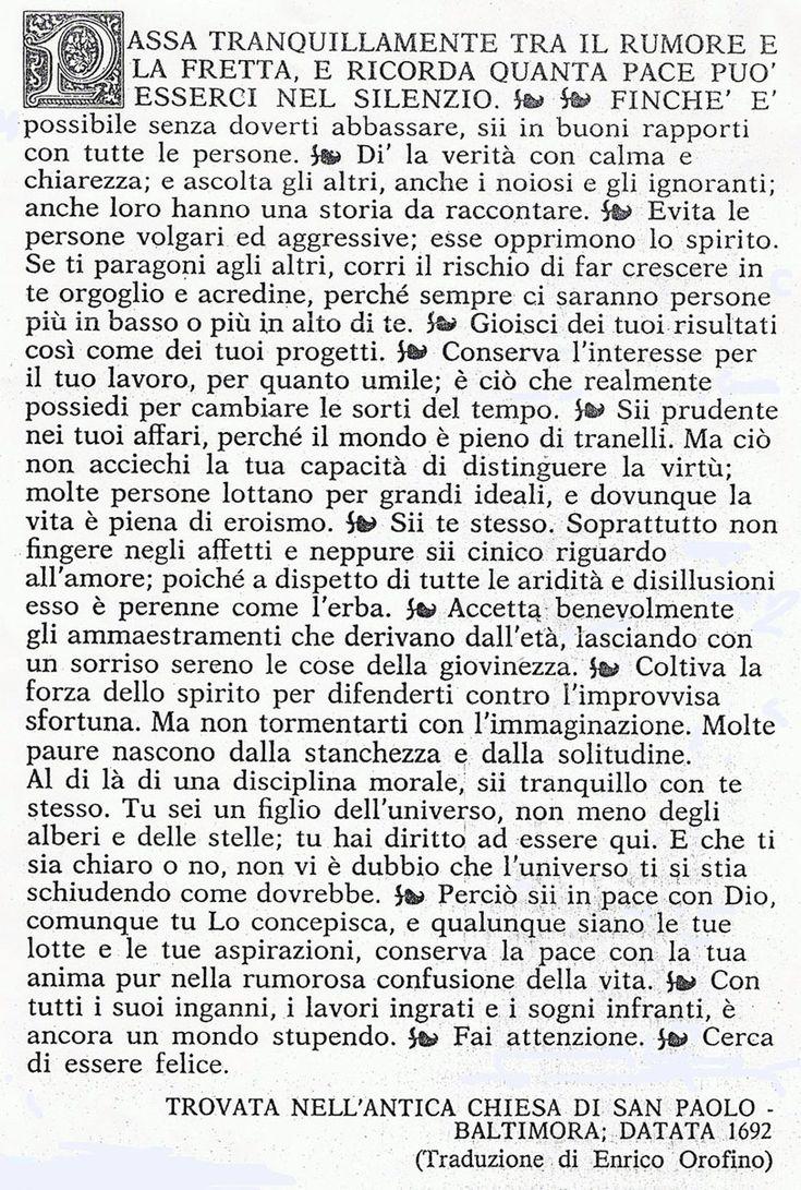 Desiderata, poema di Max Ehman - in italiano