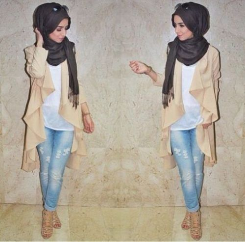 waterfall cardigan in neutral tones- Chic hijab outfits from instagram http://www.justtrendygirls.com/chic-hijab-outfits-from-instagram/