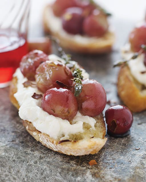 Bruschetta with Ricotta & Baked Grapes #SweetPaul