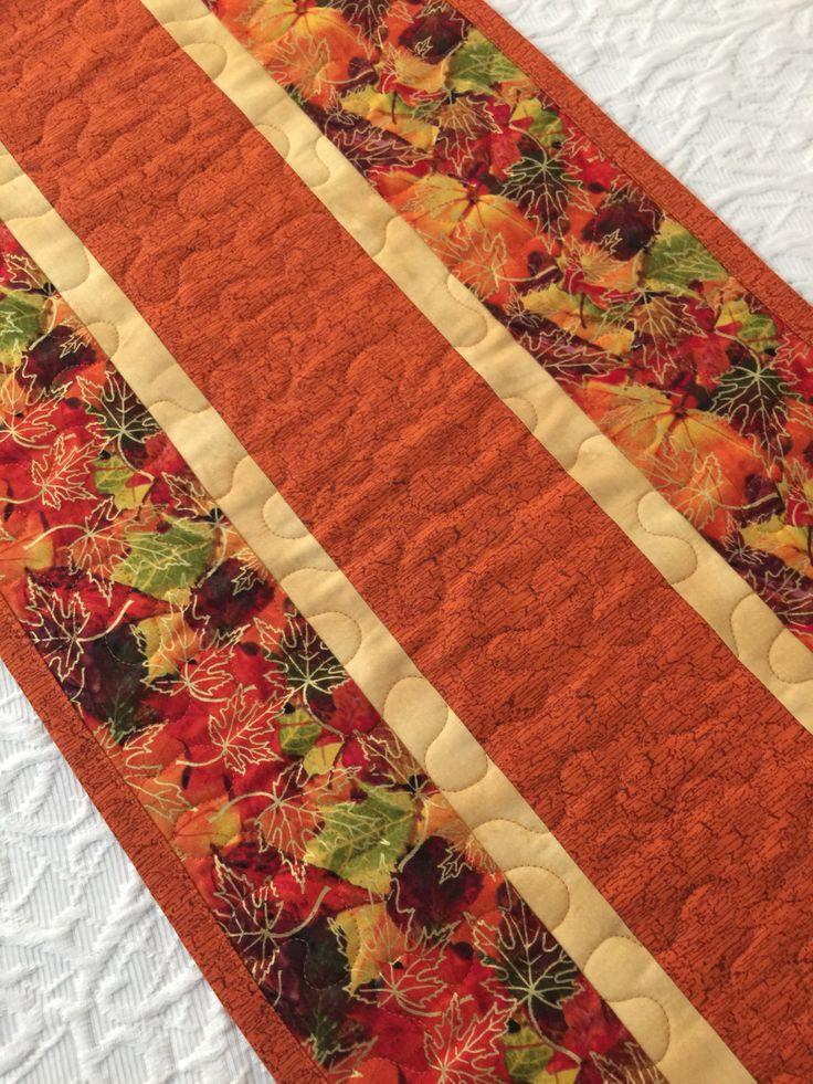 Fall Thanksgiving Table Runner Quilt, Leaves Topper, Fall Autumn Quilt,  Orange, Brown