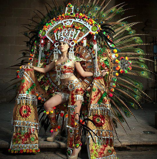"Miss Universe Mexico Karina Gonzalez: Aztec Queen on Testosterone ! This is what ""Miss Universe Pageant"" costumes are all about."