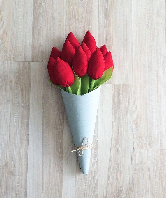 Тюльпаны из ткани текстильные тюльпаны красные от BeTheOriginal