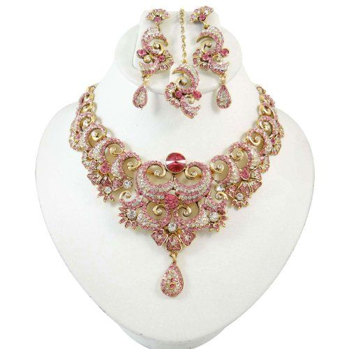 Bollywood Rosa CZ Ethnische Halskette Set indische Hochzeits- Party- Wear Designer Damen -Schmuck-Geschenk | Your #1 Source for Jewelry and ...