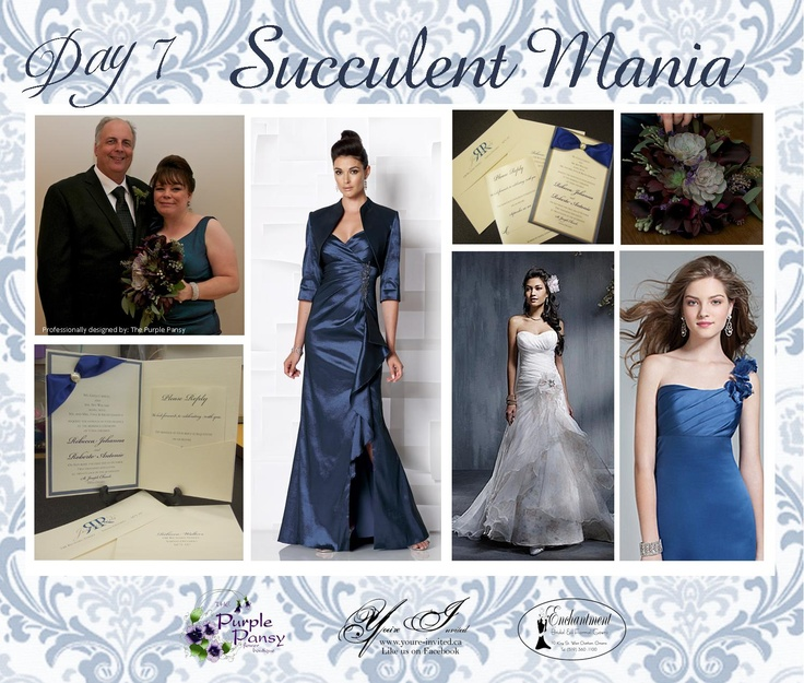 Day 7 Inspiration: Succulent Mania Wedding The Purple Pansy www.purplepansy.ca You're Invited www.youre-invited.ca Enchantment Bridal www.enchantmentbr... Picture of You're Invited Invitations Enchantment Bridal Dresses & The Purple Pansy Floral Arrangements