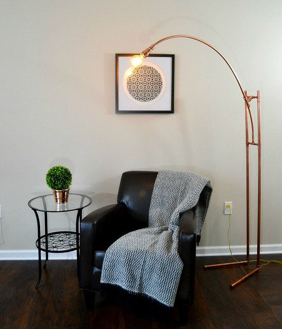 Floor lamp handmade copper pipe tripod tall standing floor lamp base