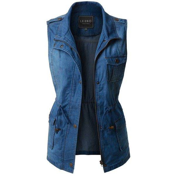 LE3NO Womens Lightweight Sleeveless Denim Anorak Military Vest with... ($30) ❤ liked on Polyvore featuring outerwear, vests, blue anorak jacket, anorak vest, sleeveless denim vest, zip up vest and utility vests