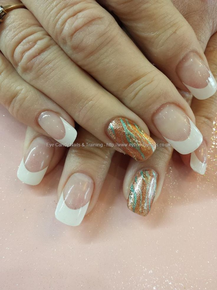 White french with bronze nail art
