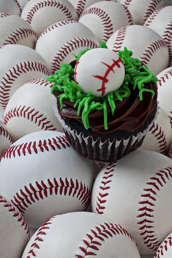 Baseball cupcake Photograph  - Baseball cupcake Fine Art Print