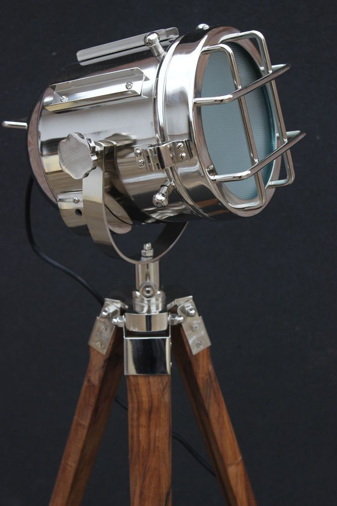 Hollywood Marine Bed Room Floor Lamp with Wooden Tripod Nautical LED Searchlight