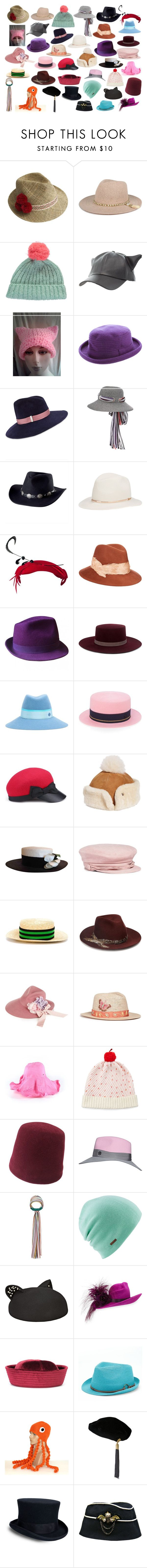 """Cute hats 2"" by asherthecrimsonfox ❤ liked on Polyvore featuring Justine Hats, Miss Pom Pom, Charlotte Russe, Pussycat, Chapeaux Motsch, Gigi Burris Millinery, Missoni Mare, San Diego Hat Co., Janessa Leone and Eugenia Kim"