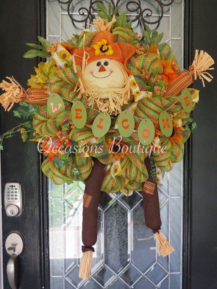 Fall Wreath, Autumn Wreath, Front door Wreath, Door Hanger, Wreath for Door, Scarecrow, Ready to Ship by OccasionsBoutique on Etsy