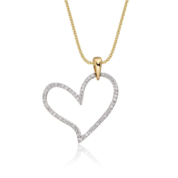 This charming yellow gold diamond pendant has 0.25ct diamonds. The pendant features an elegant line of diamonds set beautifully around the perimeter of the open heart. This necklace is made in 9K yellow gold and is available complete with a beautiful mirror trace chain or if you already have a chain then you have the option to buy just the pendant.