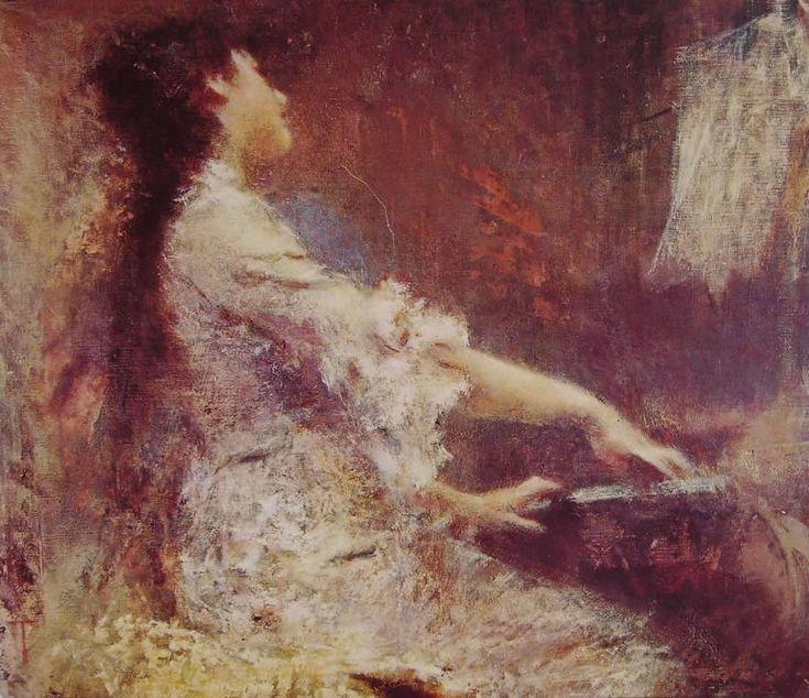 """Tranquillo Cremona (1837-1878) """"La melodia"""" 1874 Milano, Collezione Rossello"""
