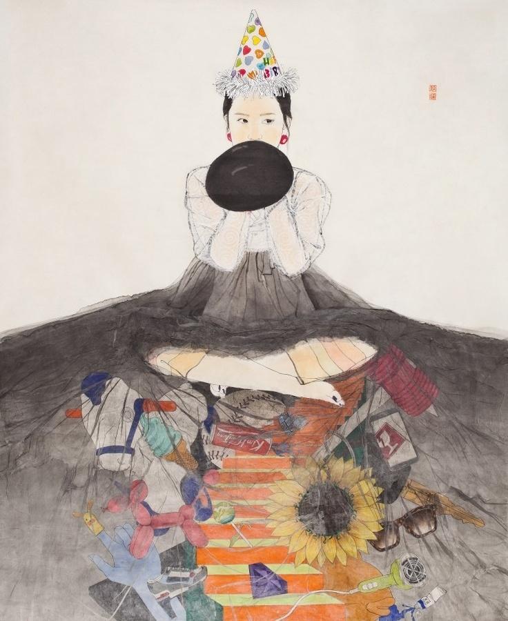 < 내숭 : Hidden Story /  Feign : Hidden Story>, Kim, Hyun-Jung  한지 위에 수묵담채, 콜라쥬  Painting with Korea traditional ink, color and collage  on Traditional Asian paper  159 x 128 cm, 2013