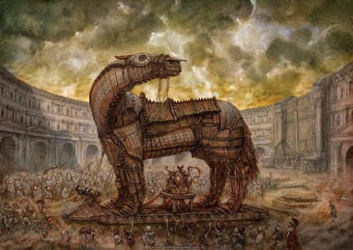Ilustração representando o famoso episódio da literatura grega do cavalo de Troia - do blog Sun Tzu e A Arte da Guerra (http://www.suntzulives.com/).